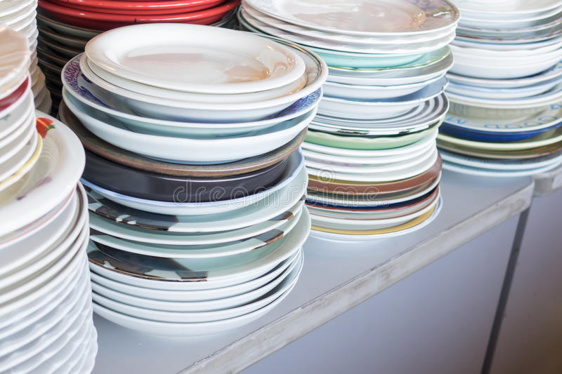Stack dishes royalty free stock photo