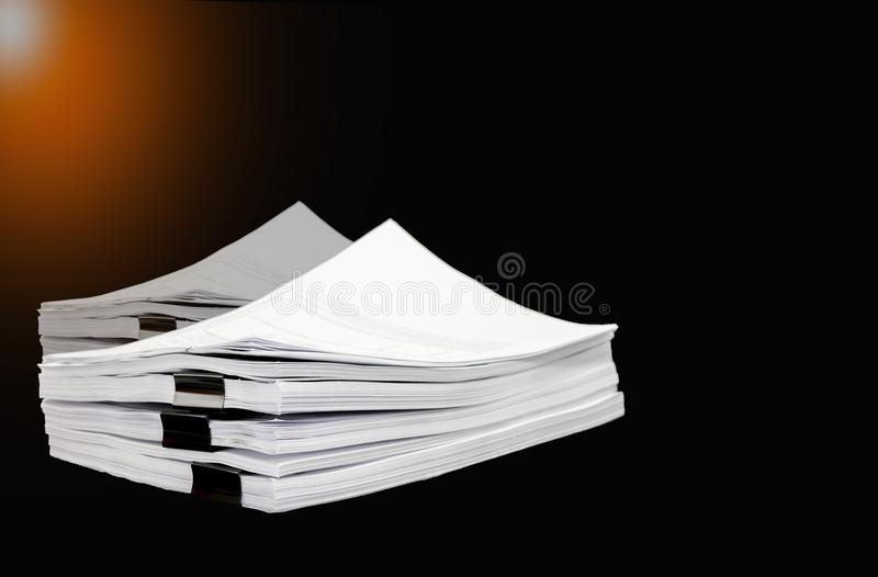 Stack documents or files on black background. stock illustration