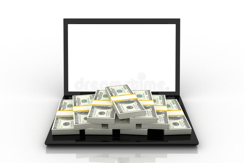 Download Stack of Dollar stock illustration. Image of laptop, hacker - 22415351