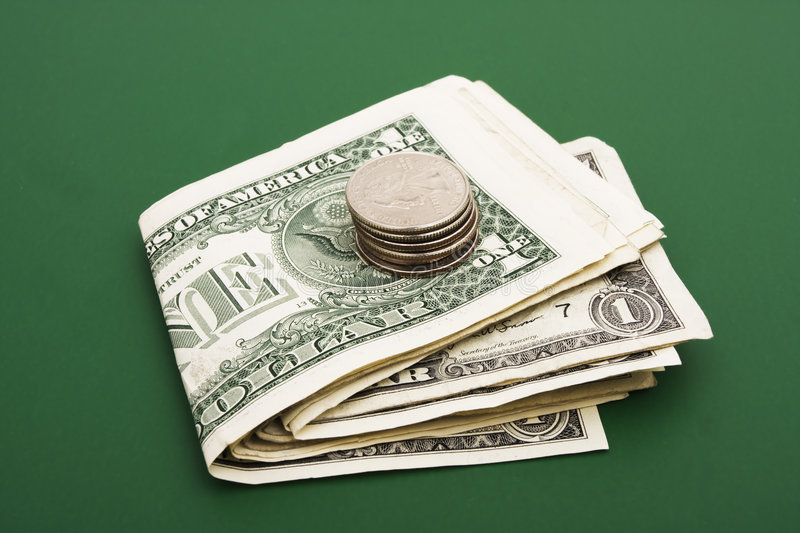 Stack Of Dollar Bills Stock Photo