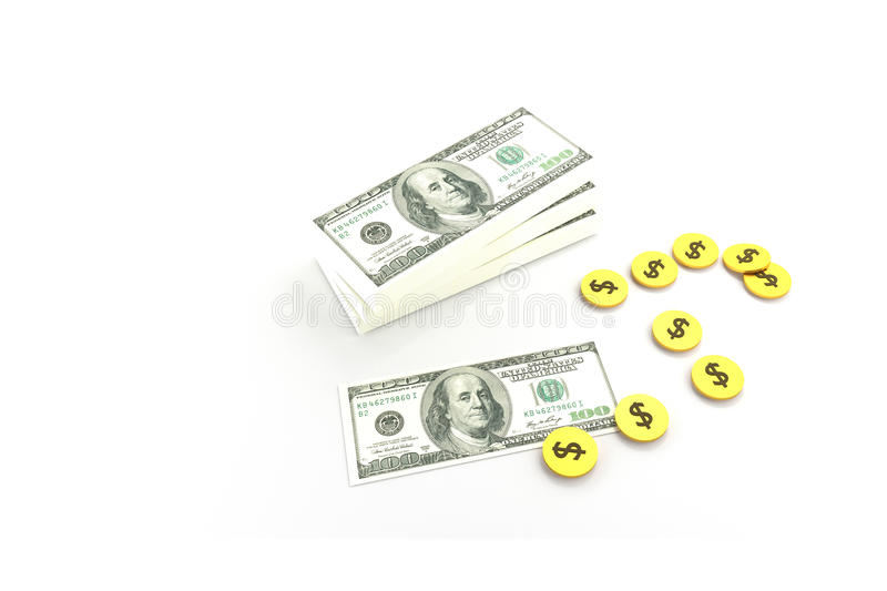 Stack of $100 dollar bills and many coins. vector illustration