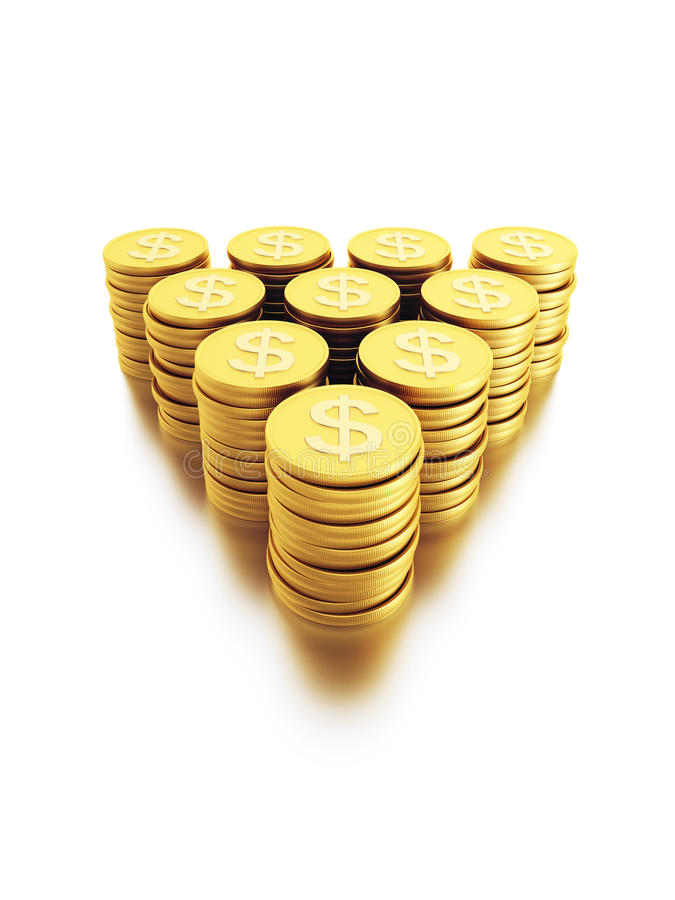Stack Of Dollar Coins Stock Photos