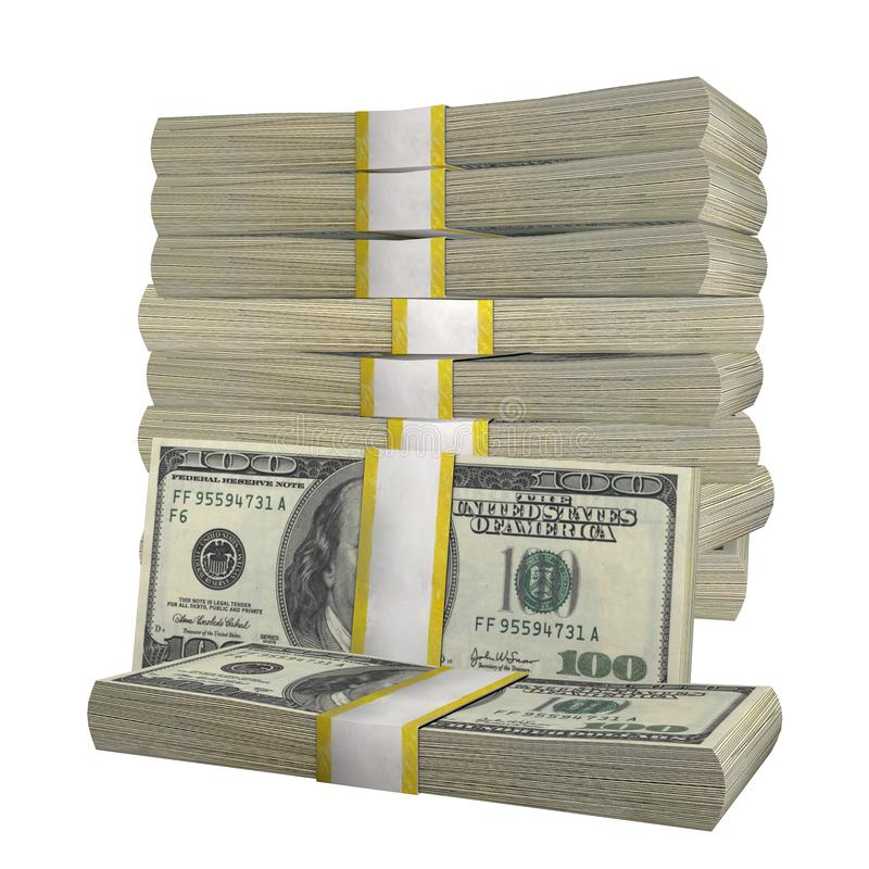 Stack of 100 Dollars banknote bill USA money banknote white background. Isolated stock images