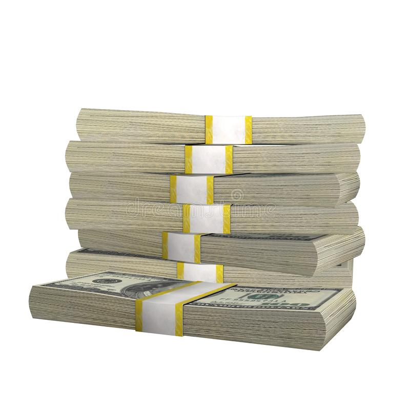 Stack of 100 Dollars banknote bill USA money banknote on a white background. royalty free illustration