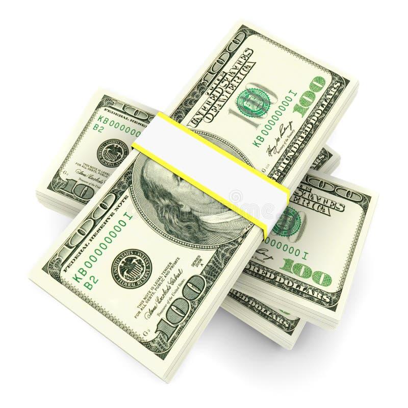 Stack of 100 dollars bills vector illustration