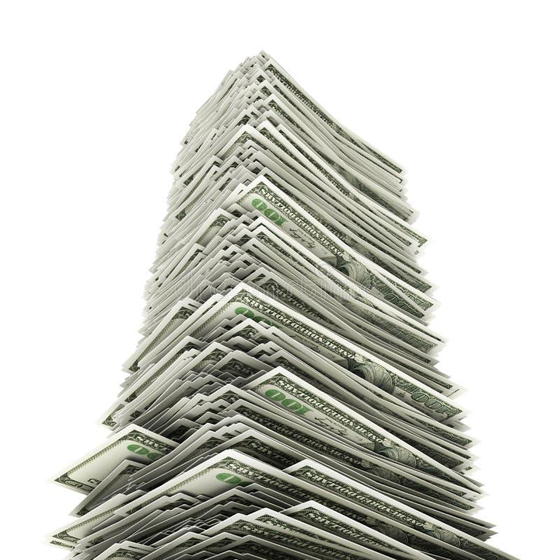 Dollars tower on white royalty free stock photos