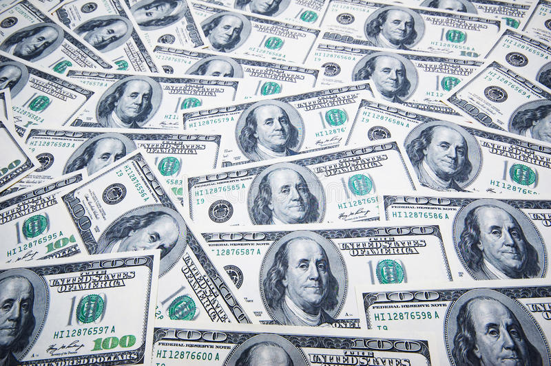 Stack of dollars on money royalty free stock image