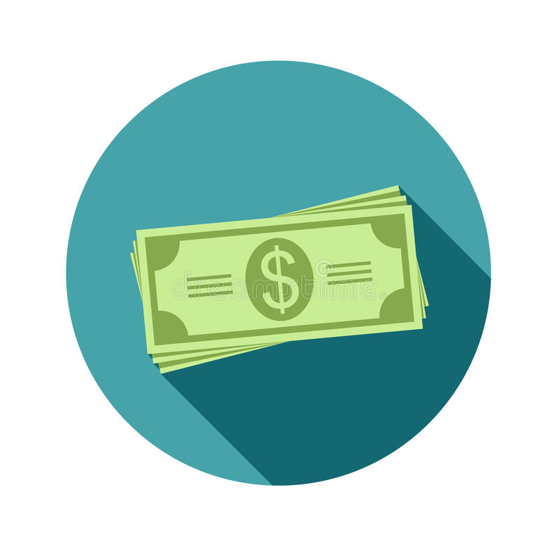 Stack of dollars. Paper bills or money. Icon in a flat style with shadow. Vector, illustration EPS10. vector illustration
