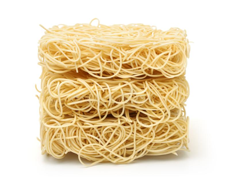 Stack of dry uncooked ramen noodles royalty free stock images