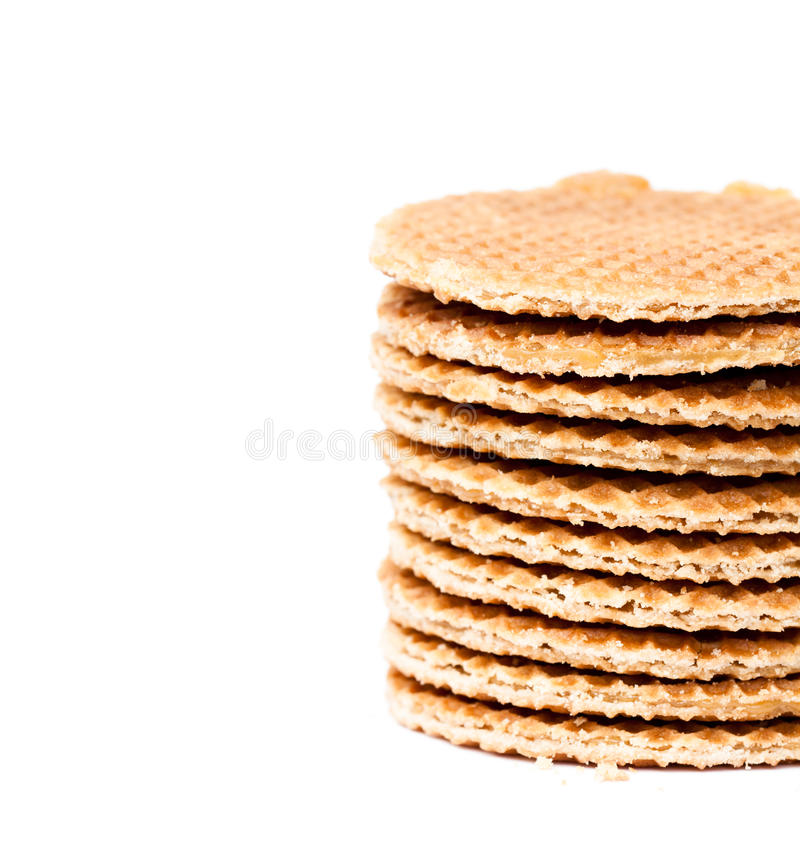 Stack of Dutch caramel waffles isolated royalty free stock photography