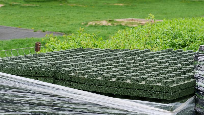 Stack of elastic pavement blocks of EPDM synthetic rubber stock images