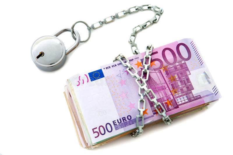 Download Stack Of Euro Notes Chained Up. Stock Image - Image: 22762121