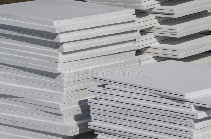 Stack of facing slab. (Building materials royalty free stock photos
