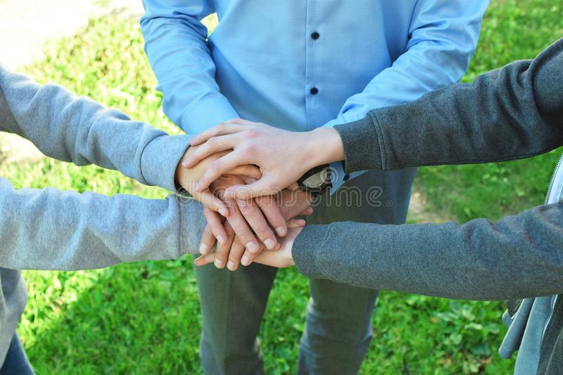 Stack of family people hand stock photo