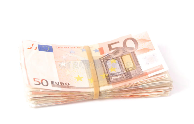Stack Of Fifty Euro Notes With Rubber Band Stock Images