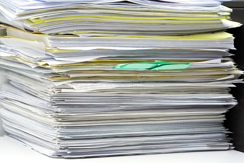 Stack of files stock image