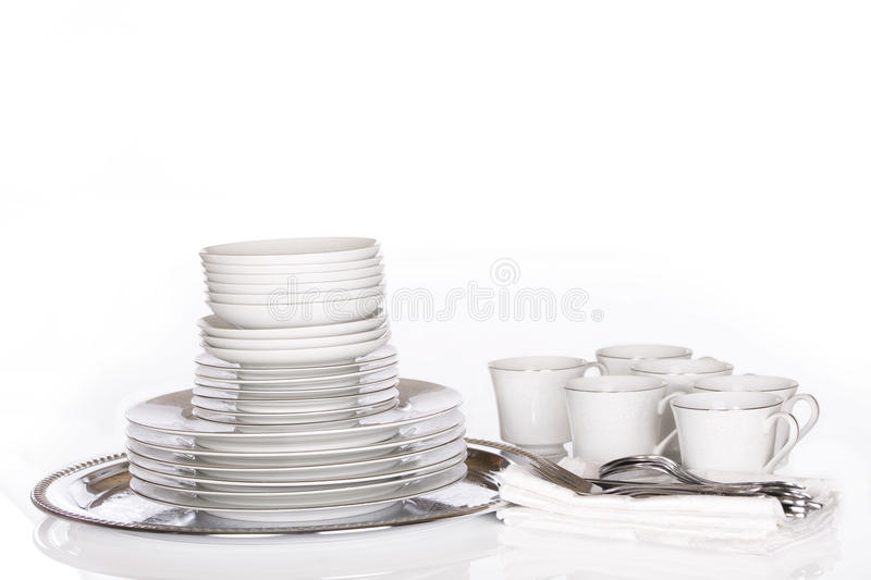 Download Stack Of Fine Dishes On Silver Tray Stock Photo - Image: 13130284