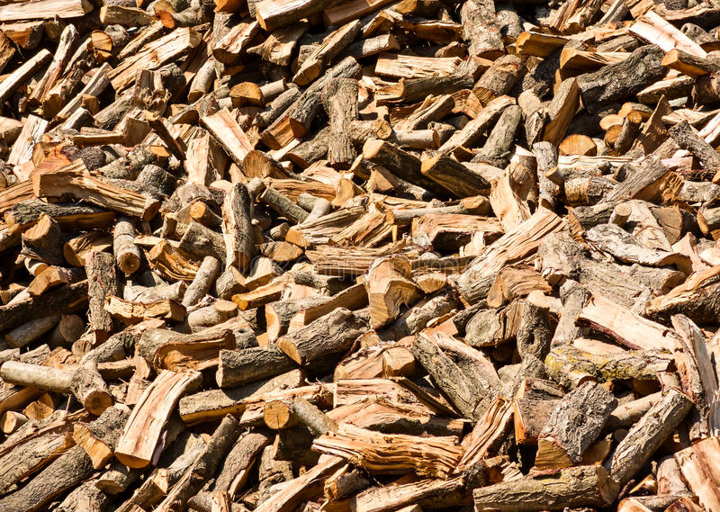 Stack of firewood. Cut and split wood for burning royalty free stock photo