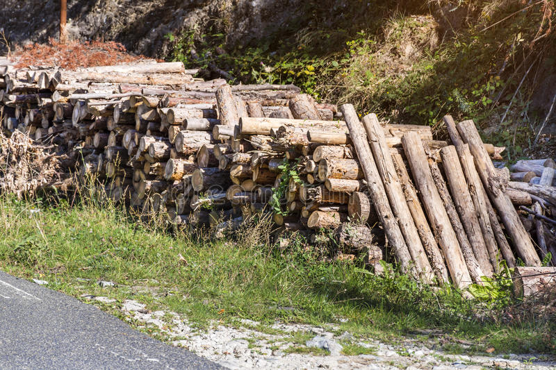 Stack of firewood outdoor royalty free stock photography