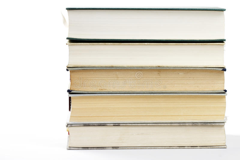 Stack of five books. A stack of five books on white background stock photos