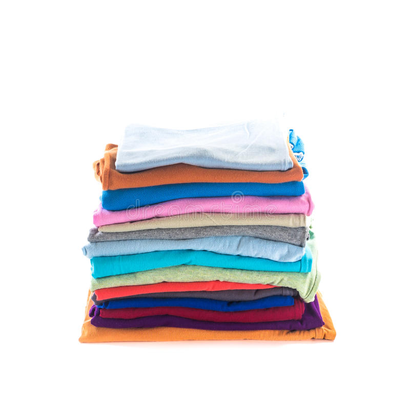 Stack of folded cotton clothes royalty free stock image