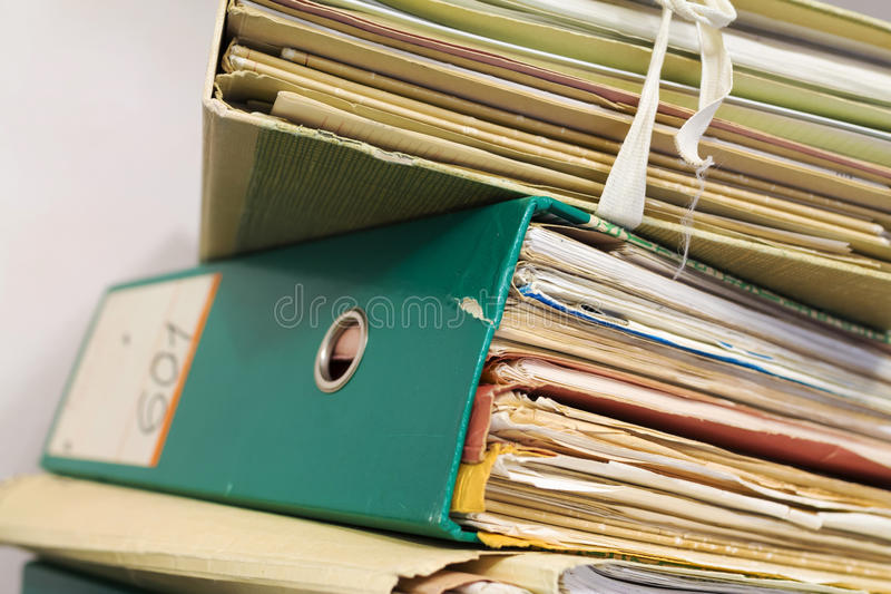 Stack of folders with archival documents. In the office royalty free stock photos