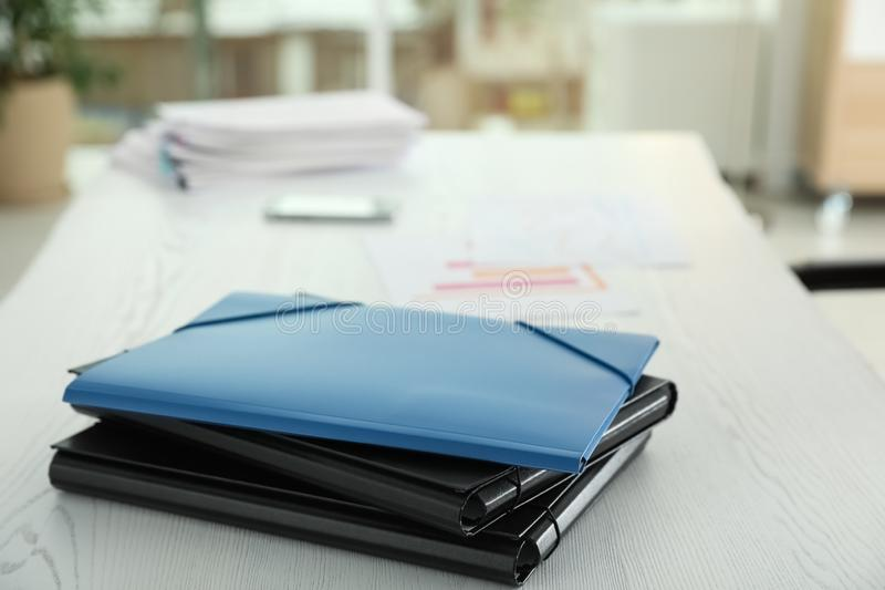 Stack of folders with documents on office table. Space for text royalty free stock photography