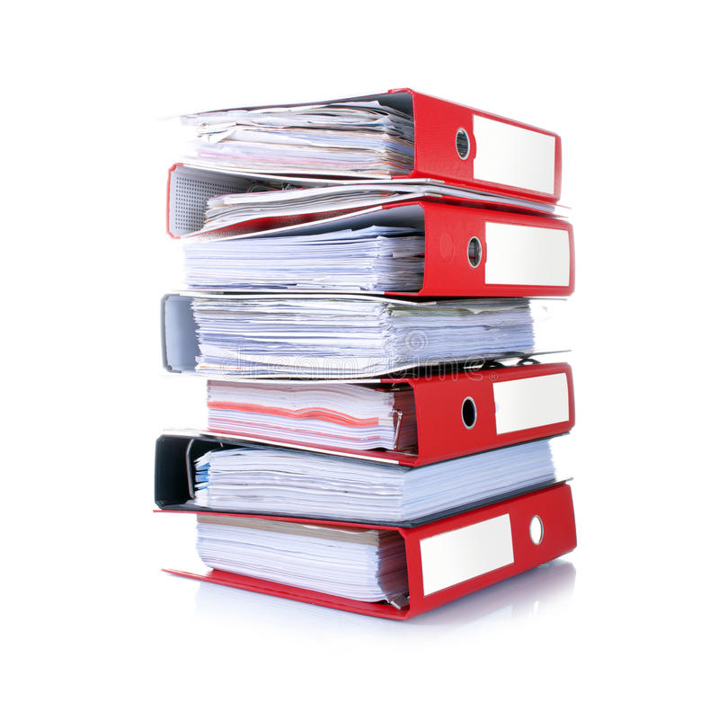 Stack of folders. Stack of red folders isolated on white stock images
