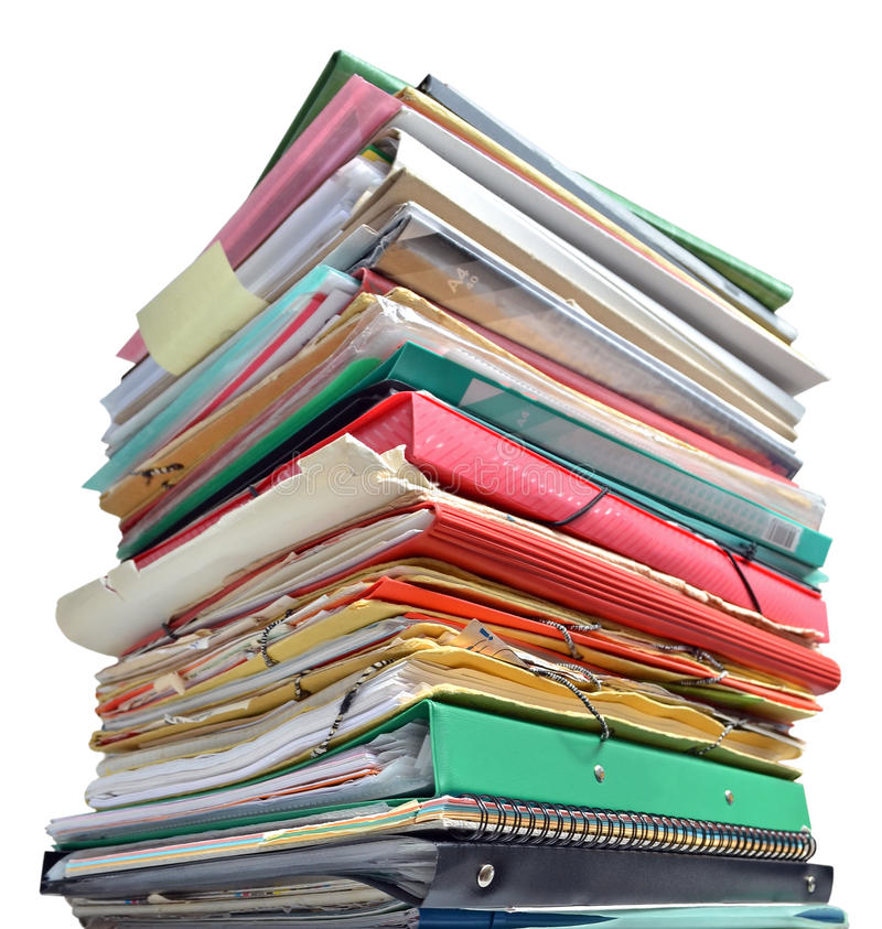 Stack of folders. On white background royalty free stock photo