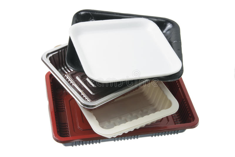 Stack of Food Trays. On White Background royalty free stock images