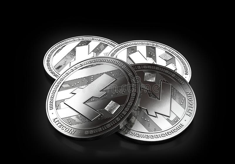 Stack of four silver Litecoin coins laying on the black background stock illustration
