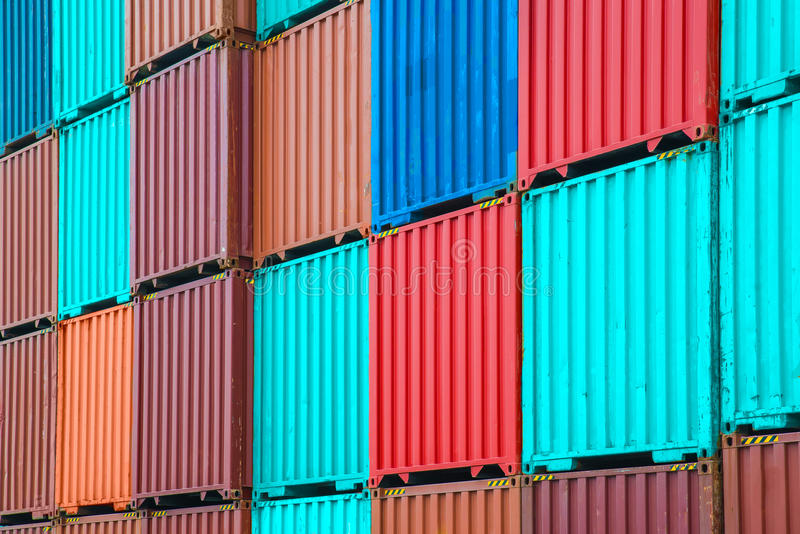 Stack of freight containers at the docks royalty free stock photography