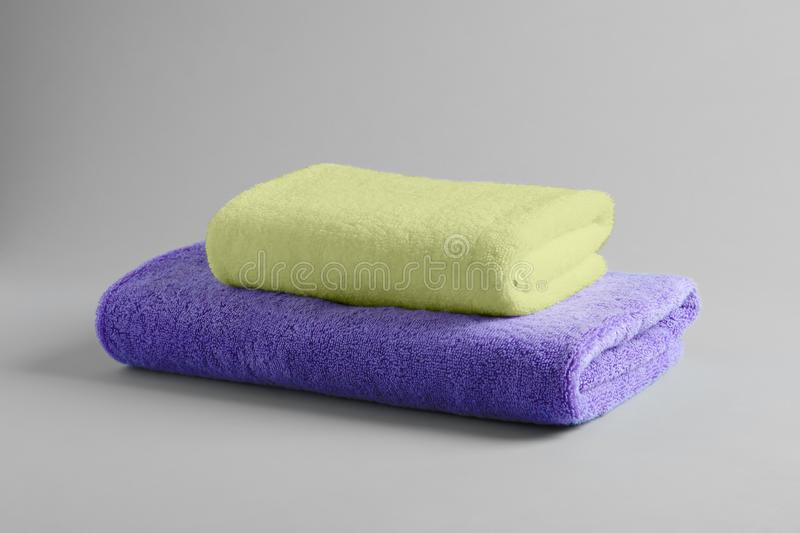Stack of fresh fluffy towels stock photography
