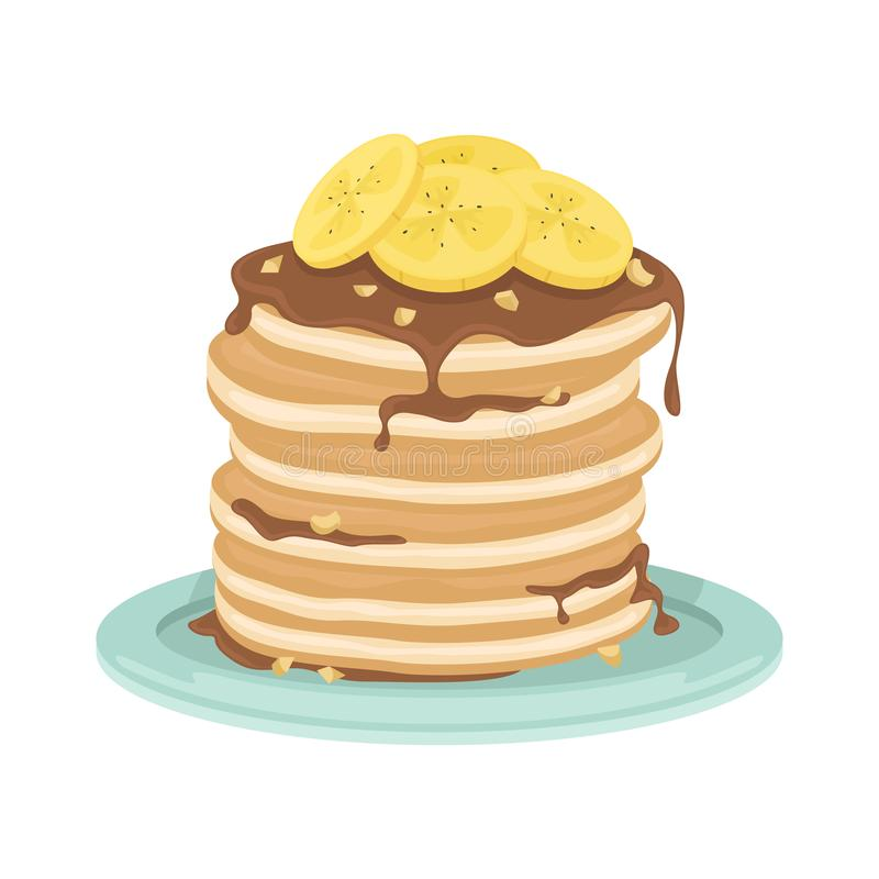 A stack of fried pancakes with bananas, chocolate sauce and nuts. Delicious breakfast. Cartoon vector illustration stock illustration