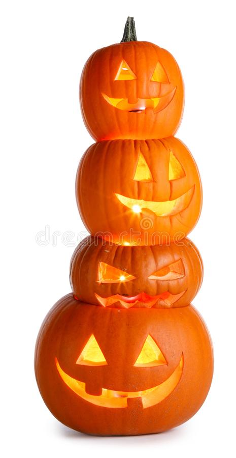 Stack of Halloween Pumpkins on white stock photo