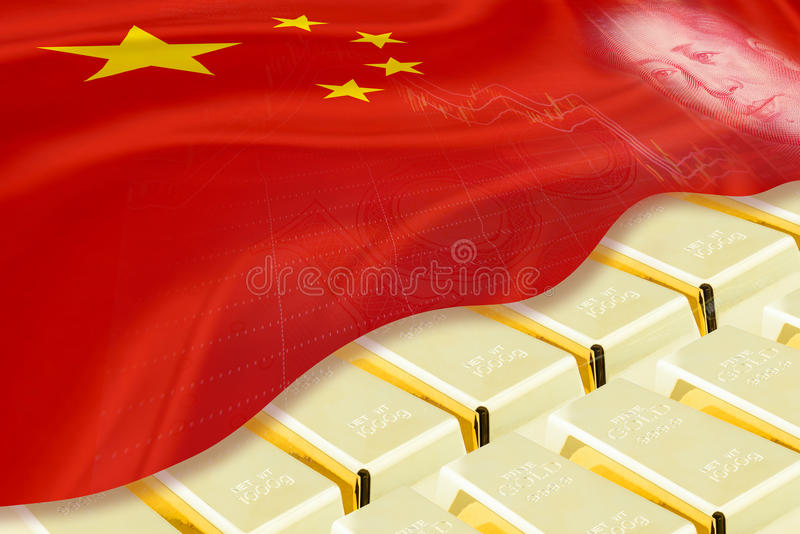 Stack of gold bars / ingots covered with flag of China and image of Mao Zedong. royalty free illustration