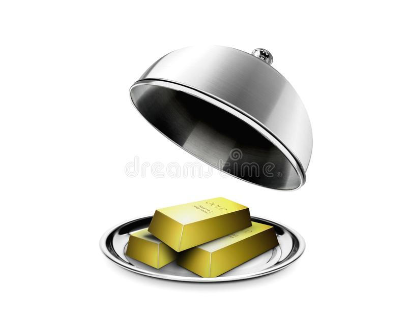 Stack Of Gold Bars On Platter Stock Images