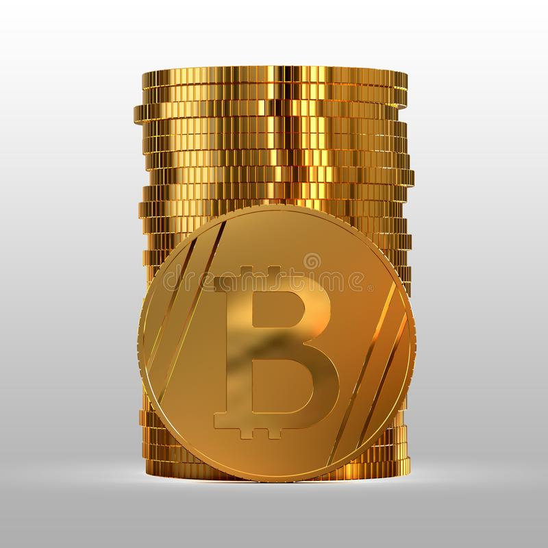 A stack of gold coins. Cryptocurrency bitcoin. 3d illustration. A stack of gold coins. Cryptocurrency bitcoin. Electronic money. 3d illustration vector illustration