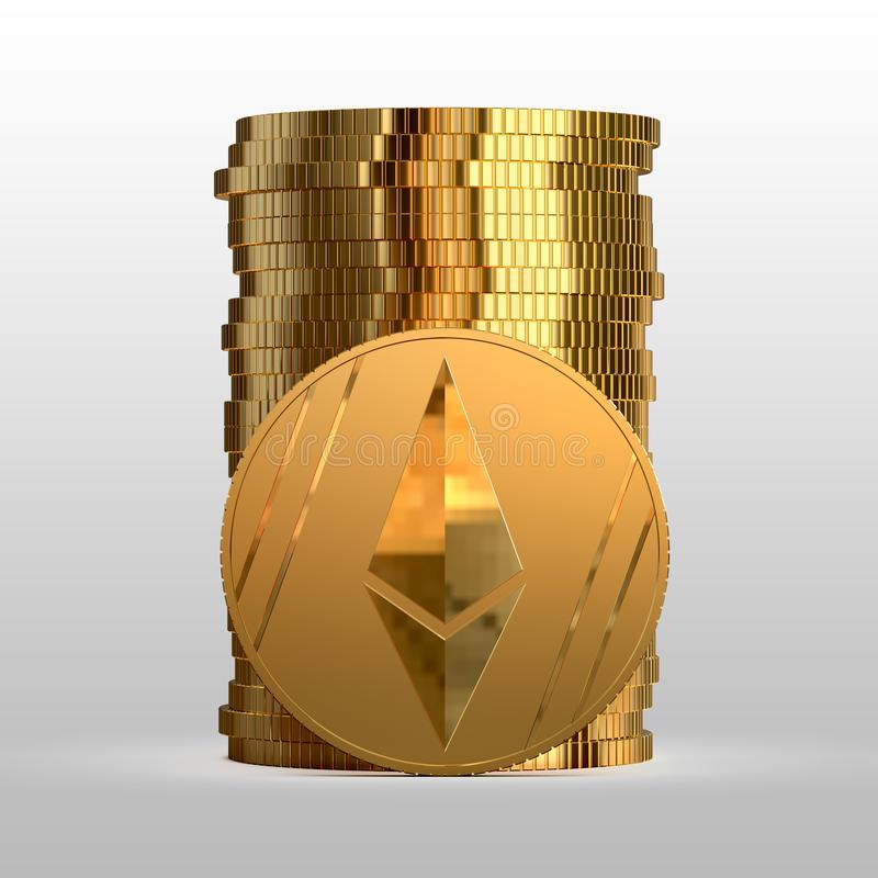 A stack of gold coins. Cryptocurrency ethereum. 3d illustration. A stack of gold coins. Cryptocurrency ethereum. Electronic money. 3d illustration stock illustration