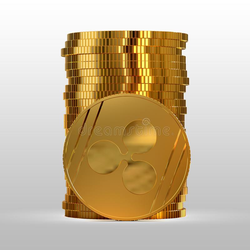 A stack of gold coins. Cryptocurrency ripple. 3d illustration. A stack of gold coins. Cryptocurrency ripple. Electronic money. 3d illustration royalty free illustration