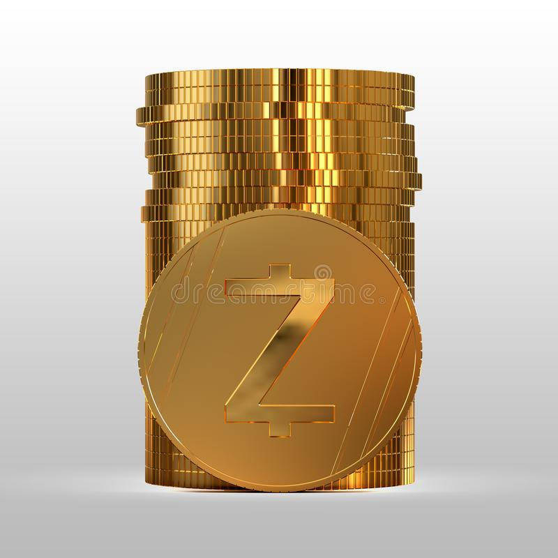 A stack of gold coins. Cryptocurrency Zcash. 3d illustration. A stack of gold coins. Cryptocurrency Zcash. Electronic money. 3d illustration royalty free illustration