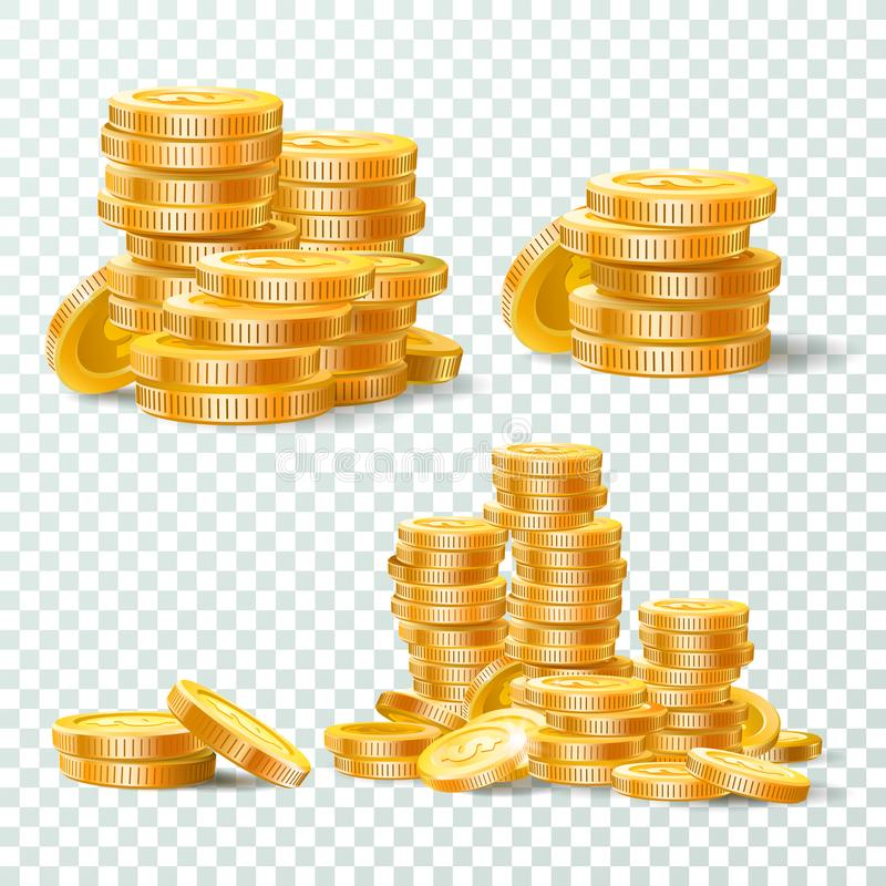 Stack of gold coins. Golden coin pile, money stacks and golds piles isolated vector set royalty free illustration