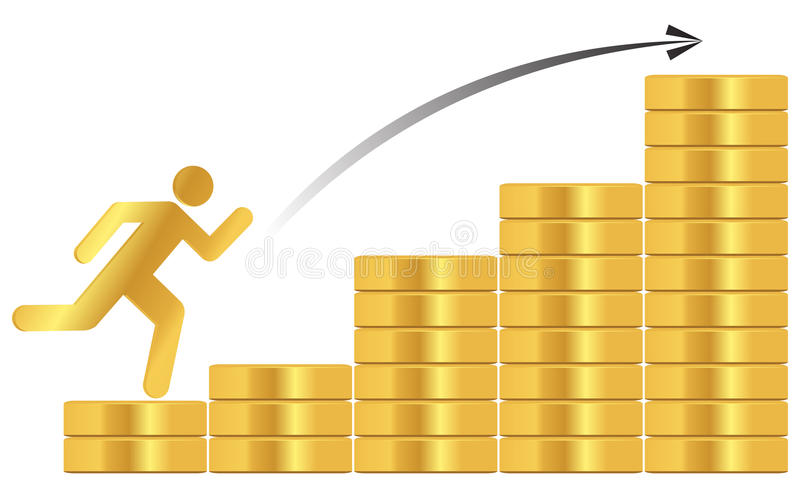 Stack of gold coins. With golden man vector illustration