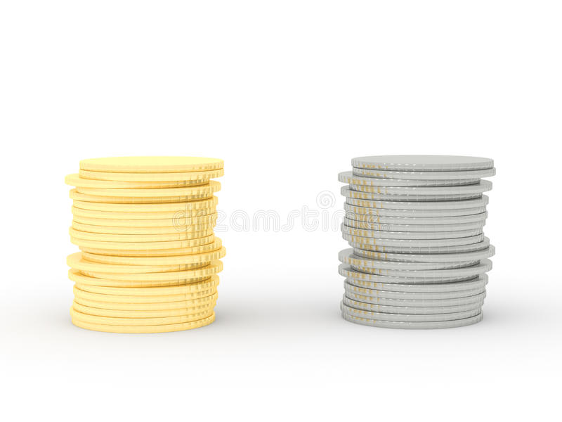 A stack of gold coins and a stack of silver coins royalty free illustration