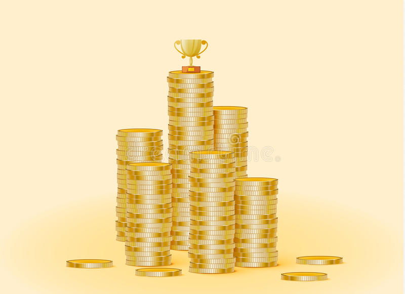 Stack of gold coins with the trophy cup royalty free illustration