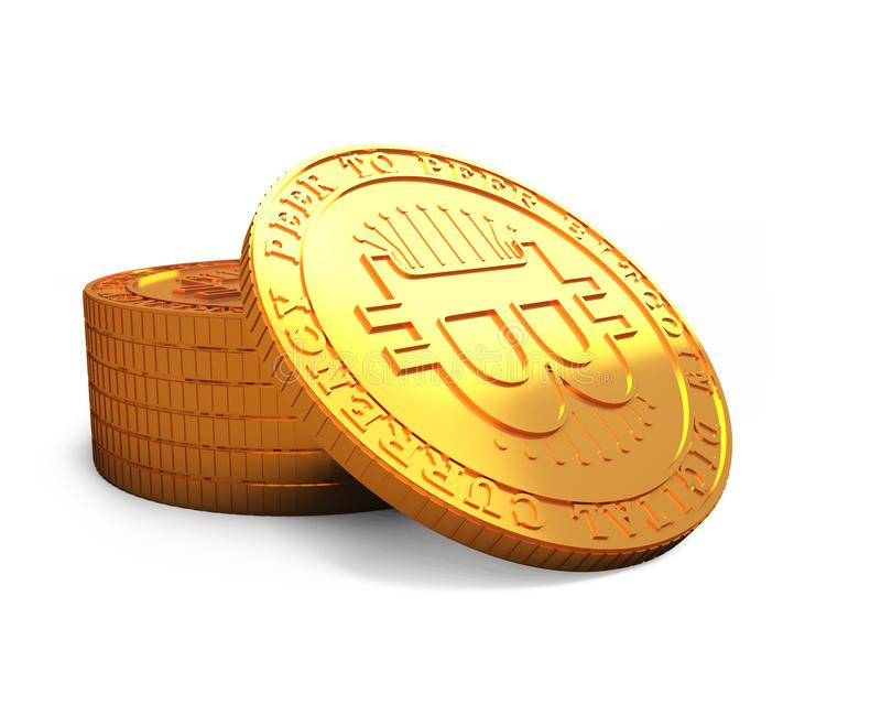 Golden Bitcoin, cryptocurrency concept, 3D illustration. Stack of golden Bitcoins, isolated on white background, concept of cryptocurrency, blockchain technology stock illustration