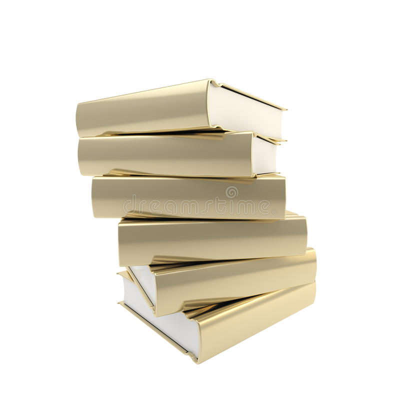 Stack of golden books, shiny and glossy. Isolated on white royalty free stock photography