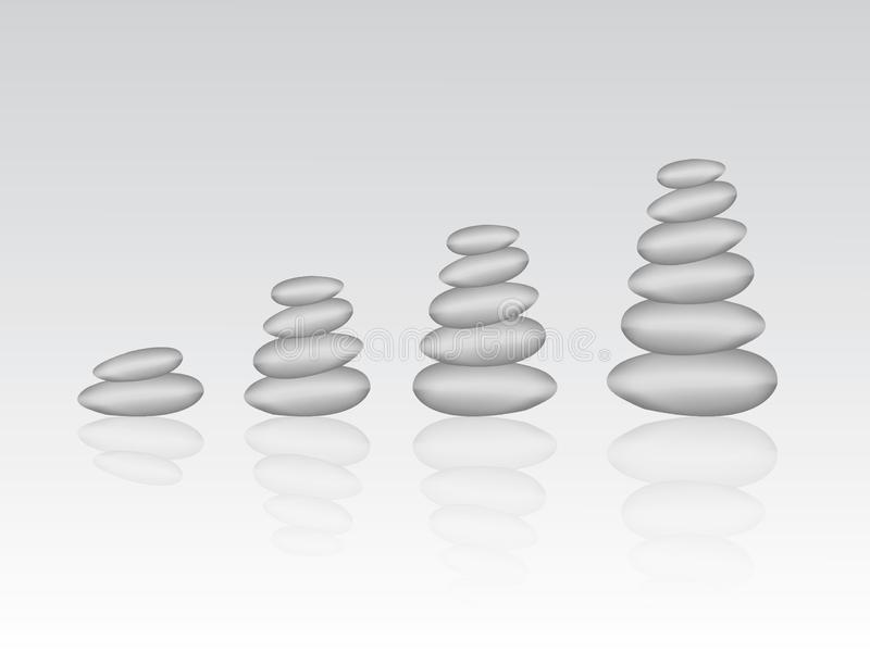 Stack of gray stones or pebbles to represent success and growth in business stock illustration
