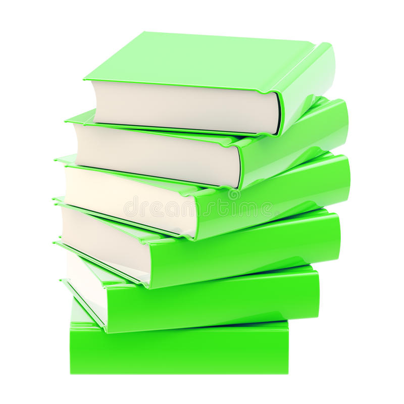 Stack of green glossy books isolated. On white royalty free stock image