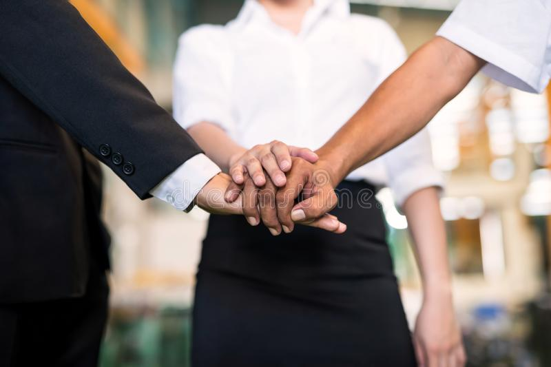 Stack hands for factory working teamwork royalty free stock images